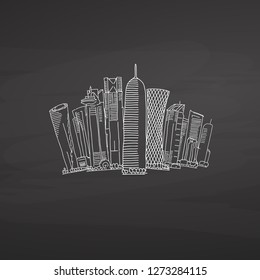Doha Qatar Skyline on blackboard. Hand-drawn vector illustration. Famous travel destinations series.
