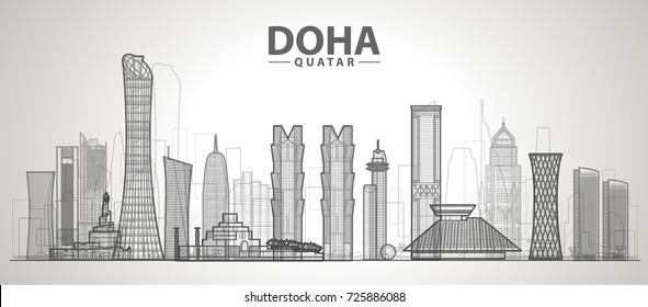 Doha (Qatar ) skyline with panorama in white background. Vector Illustration. Business travel and tourism concept with modern buildings. Image for presentation, banner, web site.