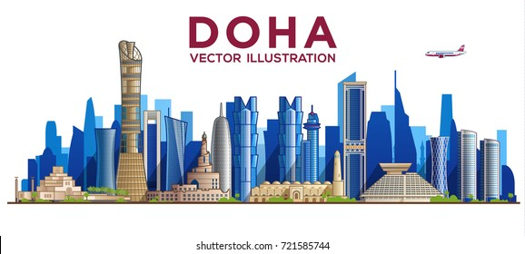 Doha ( QATAR ) skyline. Vector illustration