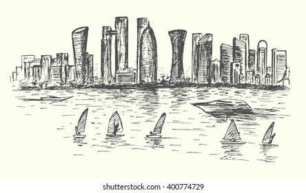 Doha Qatar skyline,hand drawn sketch style,isolated,vector,illustration.