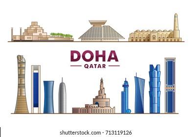Doha Qatar. Vector illustration. Most famous monument and buildings landmark.