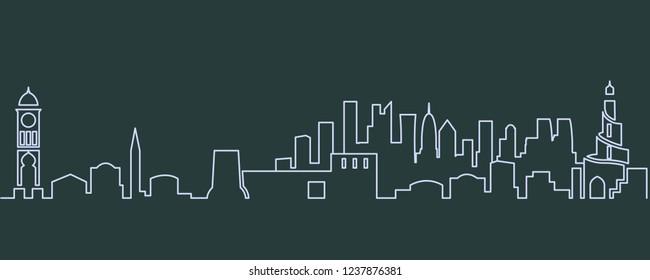 Doha Single Line Skyline