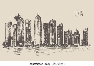 Doha skyline detailed silhouette, Qatar. Hand drawn, engraved vector illustration