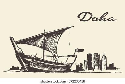 Doha skyline with Dhow, Qatar, vector illustration, hand drawn, sketch