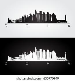 Doha skyline and landmarks silhouette, black and white design, vector illustration.