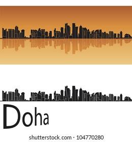 Doha skyline in orange background in editable vector file