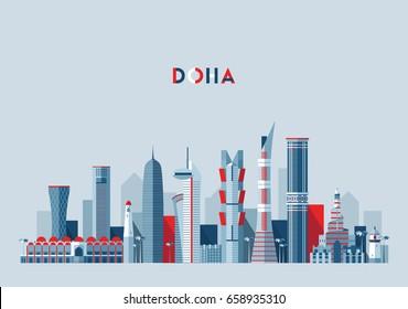 Doha skyline, Qatar, vector illustration, flat design