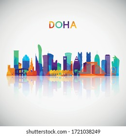 Doha skyline silhouette in colorful geometric style. Symbol for your design. Vector illustration.