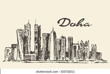 Doha skyline vintage engraved illustration, hand drawn, sketch