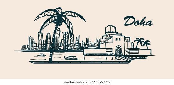 Doha skyline,hand-drawn sketch vector illustration.Museum of Islamic Art.