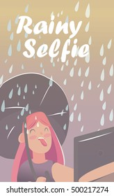 doing selfie for social networks and friends. Joy in bad weather. Girl in the autumn rain under an umbrella taking pictures of themselves