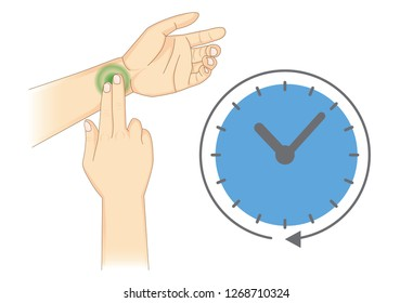 Doing use two fingers to check radial Pulse with time icon. Illustration about health diagnosis.