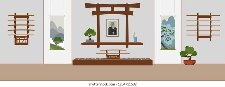 Dojo in asian style. Suitable for oriental martial arts such as aikido, judo, karate, jiu-jitsu, budo. Flat vector Illustration.