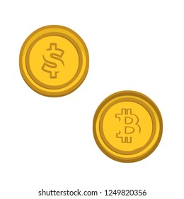 dolar coin and bitcoin vector illustration