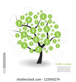 Dolars tree with icons. Vector.