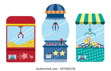 Doll cabinet Business concept.Money in Claw crane machine game. Vector illustration isolated on white background. icon set.