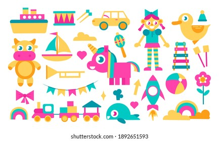 Doll, cow, unicorn, transport and so on. Bright cartoon set of kids toys isolated on white. Collection for educational game design for childrens, shop set. Toys clipart. Vector stock illustration