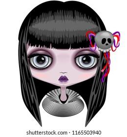 Doll Creepy Halloween Cute Face with big Grey Eyes