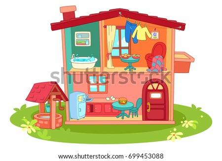 Doll House Cartoon Illustration Stock Vector Royalty Free