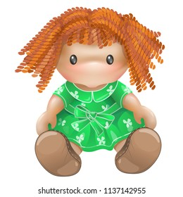 Doll illustration in vector isolated on white background. Children's toys for girls. Rag doll, needlework.