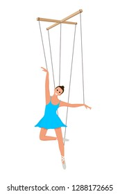 Doll marionette ballerina in a blue dress on a white background. Element of children's puppet theater. Child's toy, theatrical doll. Vector illustration