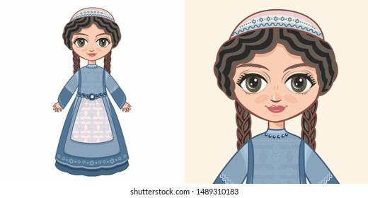 Doll in national Jewish clothing. Doll in national Jewish clothing. Girl doll in Jewish clothes. Ethnic folk clothing. Avatar