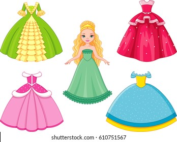 Beautiful Princess Dress Stock Illustrations, Images