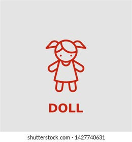 Doll symbol. Outline doll icon. Doll vector illustration for graphic art.