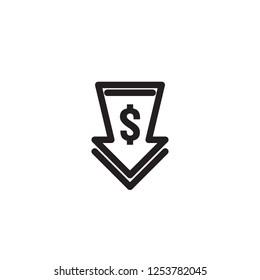 dollar arrow decrease icon. Money arrow symbol. economy stretching rising drop fall down. Business lost crisis decrease. lower cost, reduction bankrupt icon. vector illustration.