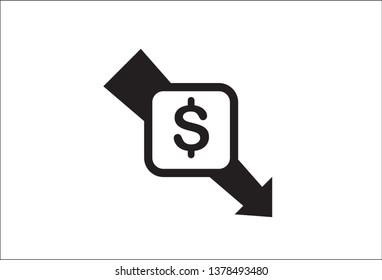 dollar arrow decrease icon. Money arrow symbol. economy stretching rising drop fall down. Business lost crisis decrease. lower cost, reduction bankrupt icon. vector illustration