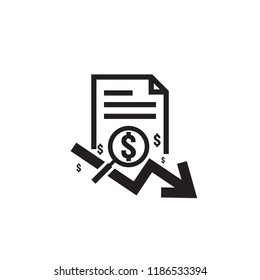 dollar arrow decrease rate icon. Money arrow symbol. economy stretching rising drop fall down. Business finance lost crisis. cost reduction bankrupt icon. flat outline vector illustration.