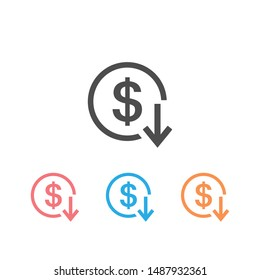 Dollar arrow down rate decrease price value finance icon set sign rising business. Vector