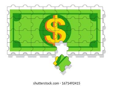 Dollar Banknote Puzzle, illustration vector cartoon