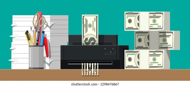 Dollar banknote in shredder machine. Destruction termination cutting money. Lose money or overspending. Vector illustration in flat style