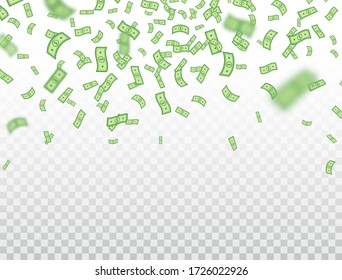 Dollar banknotes falling on transparent background. Dollars icon explosion. Money in a flat style. Cartoon cash sign. Currency collection. Paper bank notes. Jackpot, big win. Vector illustration.