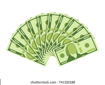 Dollar banknotes fan. Green currency cash notes. Investment vector concept. Cash money paper, financial fan salary illustration
