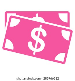 Dollar Banknotes icon from Business Bicolor Set. This flat vector symbol uses pink color, rounded angles, and isolated on a white background.
