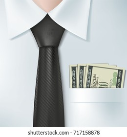 Dollar banknotes lie in the shirt pocket. Bribery and corruption. Salary and dividends. Stock vector illustration.