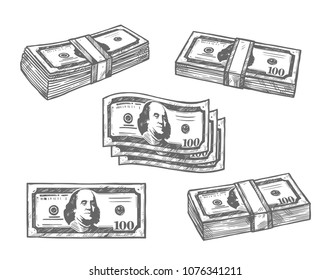 Dollar banknotes money bundles sketch icons. Vector isolated set of 100 dollars or paper money or bank notes cash pack bound for banking or finance and currency exchange design