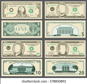 Dollar banknotes, us currency money bills vector set.
