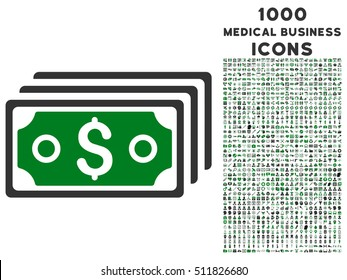Dollar Banknotes vector bicolor icon with 1000 medical business icons. Set style is flat pictograms, green and gray colors, white background.