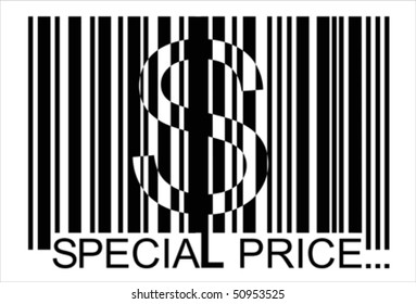 dollar  barcode,  special price, bar code,  Isolated over background and groups, vector ILLUSTRATION
