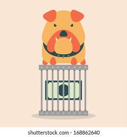Dollar bill in a steel cage with bulldog.