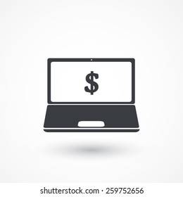 Dollar Bills On Laptop