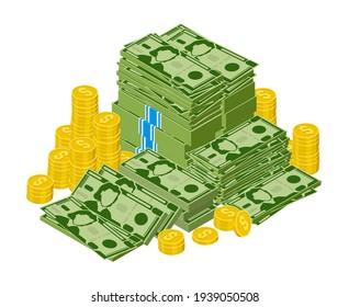 Dollar bills pile. Stacked money, green dollar cash and gold coins, money finance success. Heap dollar bills vector illustration