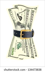dollar bills squeezed by leather belt on a white background