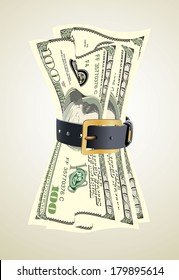 dollar bills squeezed by leather belt