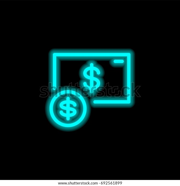 Dollar blue glowing neon ui ux icon. Glowing sign logo vector