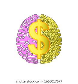 Dollar and Brain Icon vector, money mindset to success, millionaire mind