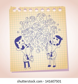dollar bubbles concept note paper cartoon illustration